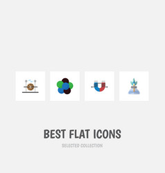 flat icon knowledge set of proton flame vector image vector image