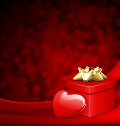 heart red shiny gift on silk with light vector image vector image
