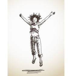 jumping young woman vector image