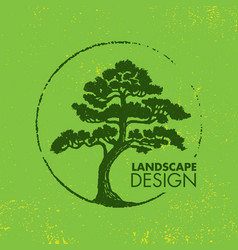 landscape design eco organic tree sign rough vector image