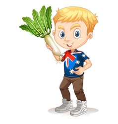 Little boy holding white radish vector image
