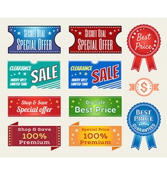 Promotion Set of retro promotion discount sale and vector image vector image