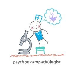 Psychoneuropathologist looking through a vector
