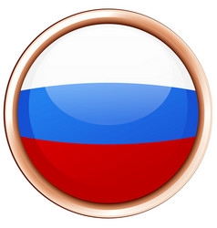Russia flag in round frame vector