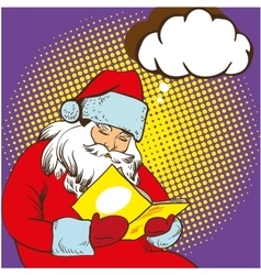 Santa claus reading fairy tales book vector