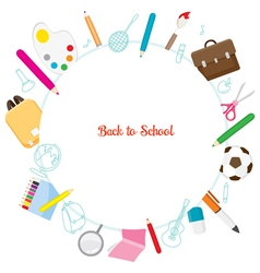 School Supplies Icons On Circle Frame vector image