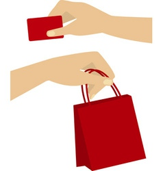 Shopping hands vector
