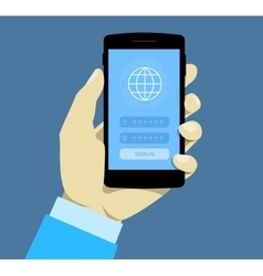 Sign in page on smartphone screen Hand hold vector image