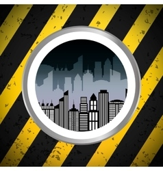 Silhouette city urban building badge with stripes vector