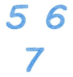 Sketch font set - numbers 5 6 7 vector