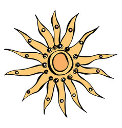 sun or star ink isolated on a vector image