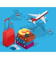 Travel bags passport foto camera and travel vector