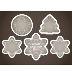 vintage christmas labels set vector image