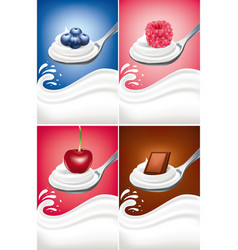 Yogurt cream on spoon with blueberry raspberry vector