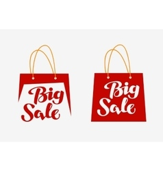Big sale logo inscription written on shopping bag vector