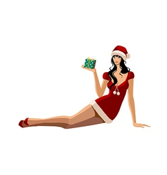 Santa suit woman sitting vector