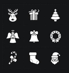 christmas silhouette icons collection vector image
