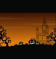 Halloween scary castle and pumpkin landscape vector