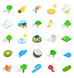 Riot of nature icons set isometric style vector
