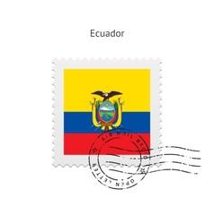 Ecuador flag postage stamp vector