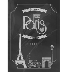 Love paris chalkboard retro poster vector