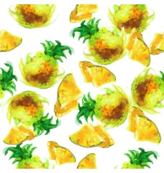 Seamless pattern of painted pineapple vector