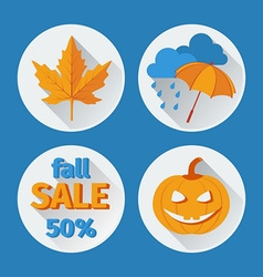 Icons set autumn flat design vector