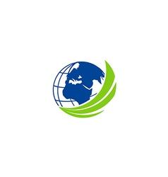 Earth globe abstract technology logo vector