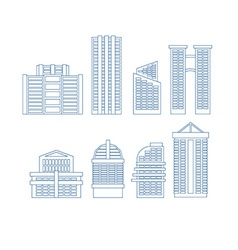 High-rise buildings buildings line icon set city vector