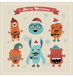 Cute retro hipster christmas monsters set vector