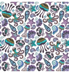 Seamless pattern with colorful sea creatures vector