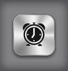 Alarm clock icon - metal app button vector image