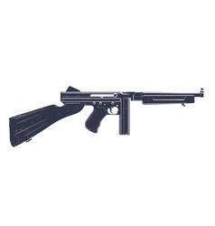 american submachine gun over white vector image vector image