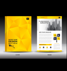 Annual report brochure flyer template yellow cover vector