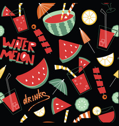 background with fruits drinks and lettering vector image vector image