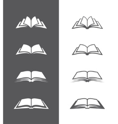 Black and white book icons set vector image vector image