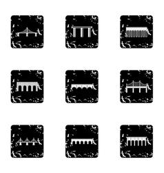 Bridge icons set grunge style vector