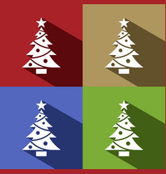 christmas tree icon with star set with shade vector image vector image