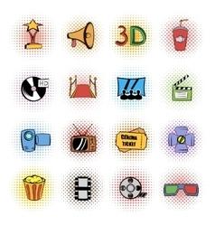 Cinema comics icons set vector