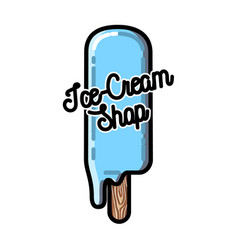 color vintage ice-cream emblem vector image vector image