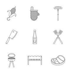 Cooking on fire icons set outline style vector