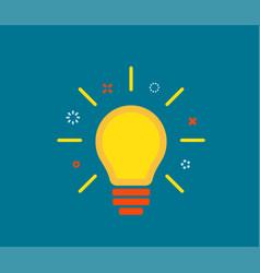 creative idea with light lamp bulb line rays vector image