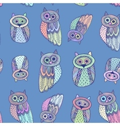 Decorative hand dravn cute owl sketch doodle on vector