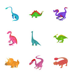 Different type of dinosaur icons set vector