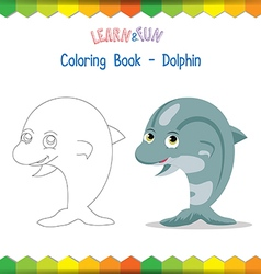 Dolphin coloring book educational game vector image