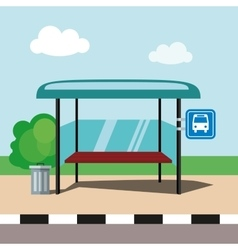 Flat bus stop on blue sky background vector image vector image