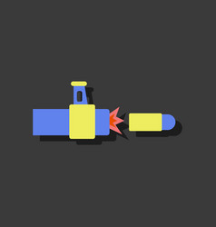 Flat icon design collection rifle bullet shot in vector