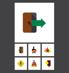 Flat icon emergency set of entry exit vector