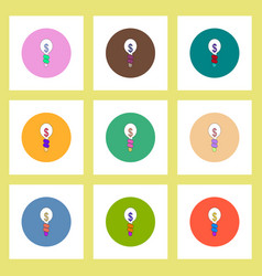 Flat icons set of light bulb with business idea vector