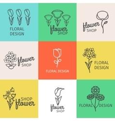 Floral design line logo vector image vector image